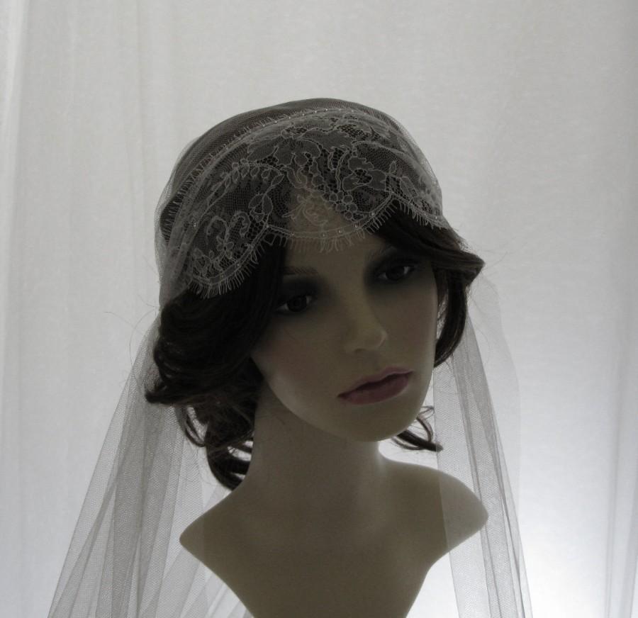 Wedding - 1920s  style  wedding veil -  couture bridal cap veil - Juliet cap veil - Lady Mary