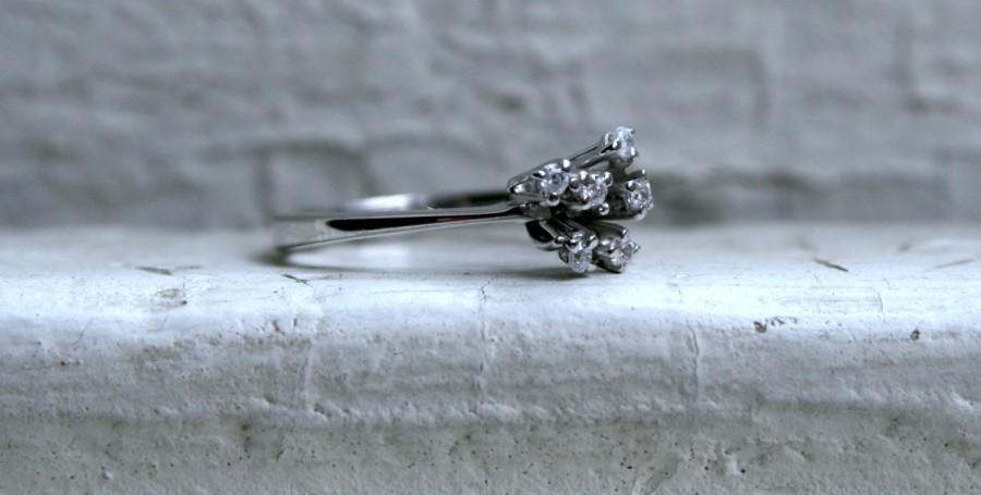 زفاف - Vintage 14K White Gold Diamond Ring Cluster Ring - 0.18ct.