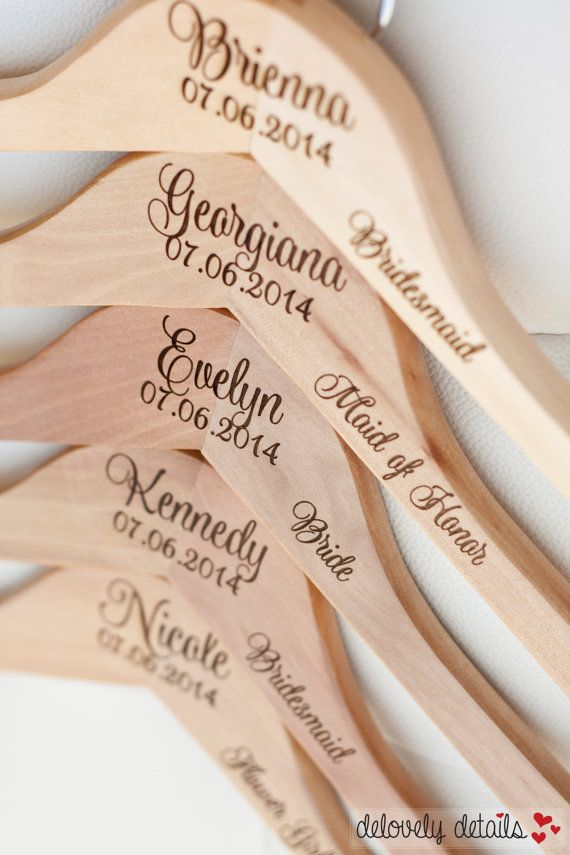 4 personalized bridesmaid hangers engraved wood for Wedding dress hangers with name