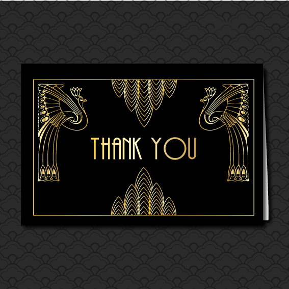 Great Gatsby Black And Gold Thank You Card Art Deco