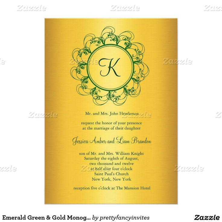 Emerald Green & Gold Monogram Wedding Invitation #2411087 - Weddbook