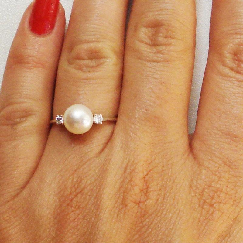 Pearl Engagement Ring With Wedding Band Pearl And Diamonds Engagement Ring Pearl And Diamonds