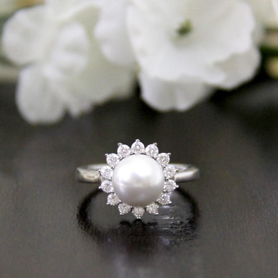 Pearl Ring Pave Set Diamond Stimulants Halo Engagement Ring Bridal