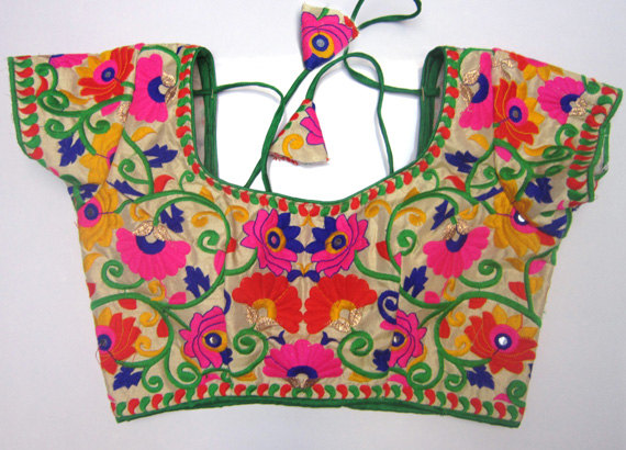 Colorful Embroidery Blouse With Saree Border Sari Blouse Saree