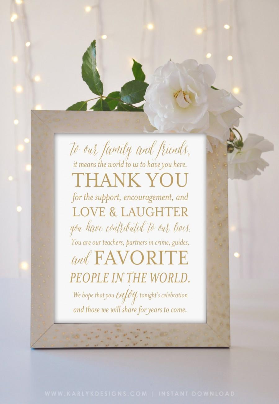 Gold Wedding Thank You Sign, Printable Wedding Decor, 5x7 AND 8x10 ...