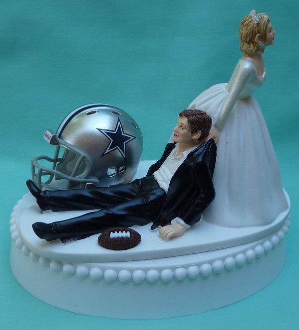 Свадьба - Wedding Cake Topper Dallas Cowboys Football Themed w/ Garter Bride Dragging Pulling Groom Humorous Funny Unique Original Sports Fans Fun
