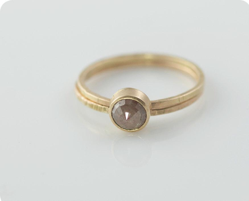 Mariage - 1ct Mauve Rose Cut Diamond Ring Hand Forged 14k Recycled Yellow Gold READY TO SHIP
