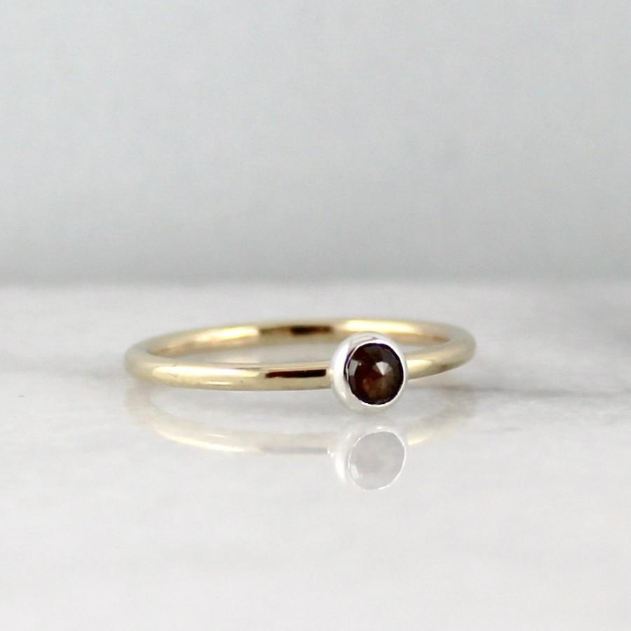 Mariage - Rose Cut Diamond Engagement Ring - 14K Yellow Gold and Sterling Silver Ring - Anniversary Ring - Yellow Gold Ring - April Birthstone Ring