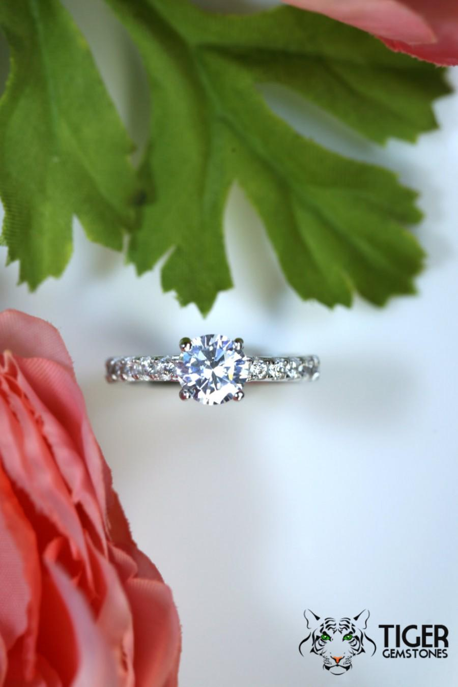 Wedding - 1.25 Carat Solitaire Engagement Ring With Accents, Man Made Diamond Simulants, Promise Ring, Wedding, Bridal, Sterling Silver, Anniversary