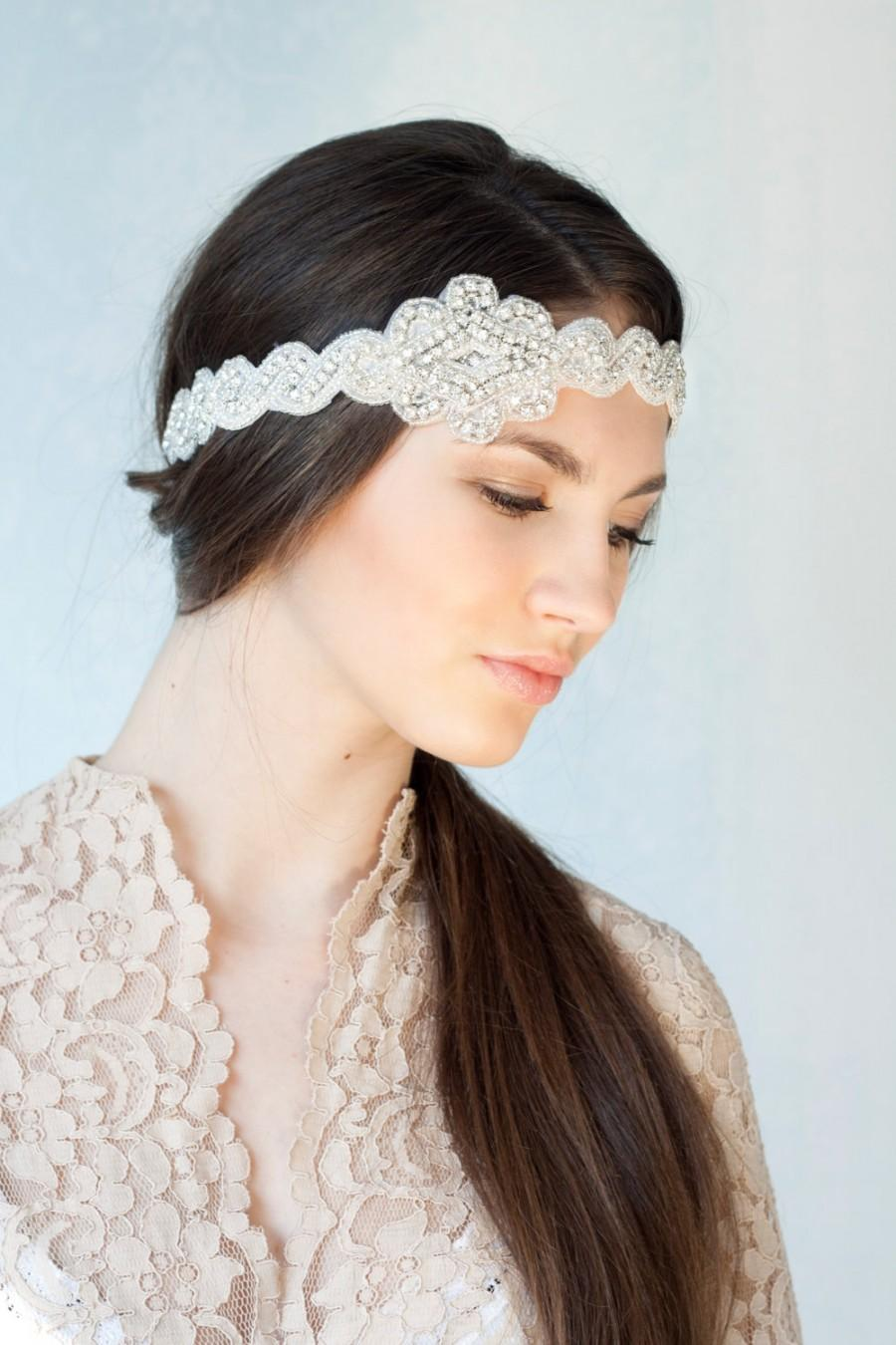 Wedding - Bridal rhinestone headband, self ties, beaded headband with rhinestones, boho bride