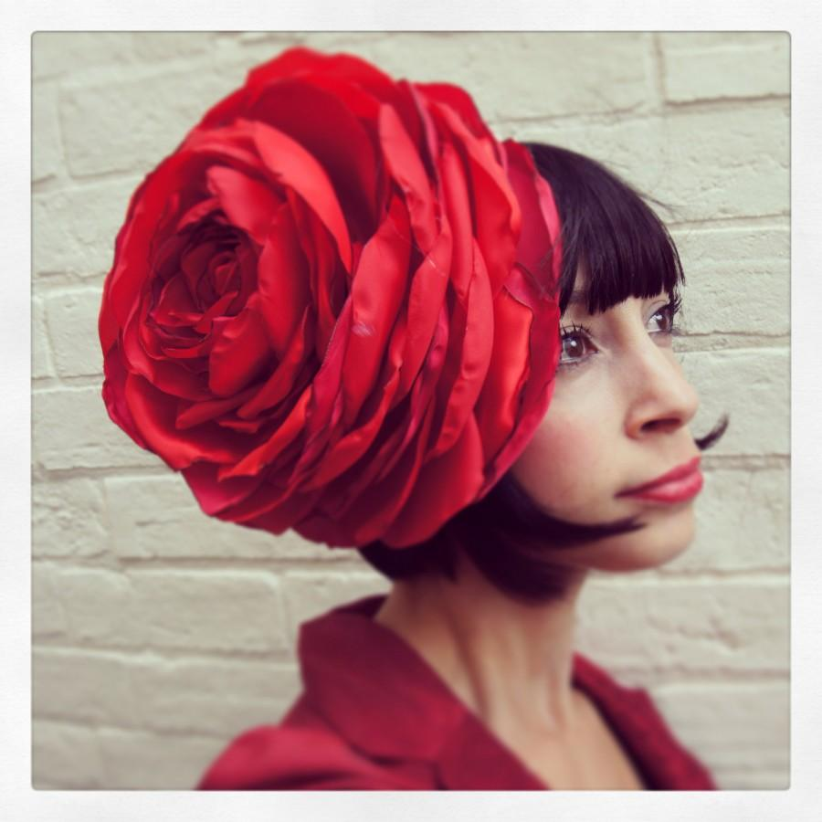 Mariage - Giant recycled vintage red satin rose flower headpiece winter christmas wedding CUSTOM ORDER