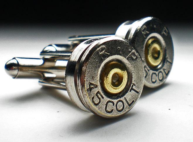 Mariage - 45 Colt Remington Nickel Bullet Head Grooms Cufflinks Set Wedding Set