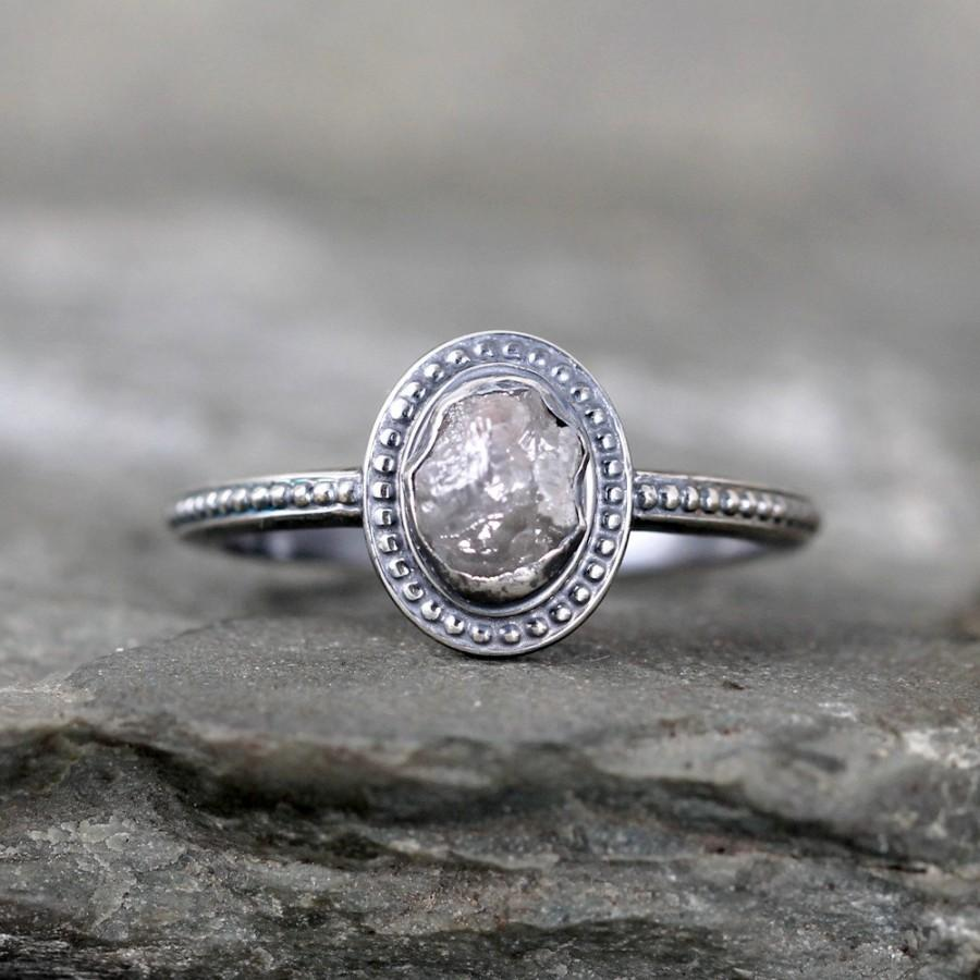 Uncut Diamond Ring  Raw Rough Diamond Engagement Rings  Sterling Silver  Bezel Set  Vintage Style Wedding Ring  April Birthstone Ring