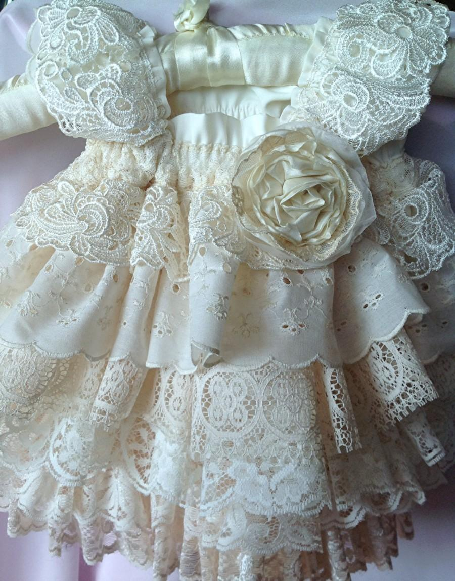 Mariage - Flower Girl,Ivory Ruffled vintage lace . Birthday, special occasion Dress by Rosanna Hope for Babybonbons