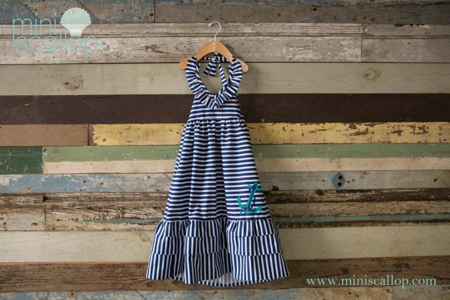 b4675a644229 Girls Toddler Nautical Anchor Stripe Sailor Maxi Dress
