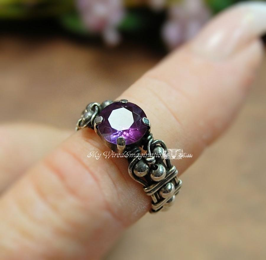 Mariage - Solid Sterling Silver Alexandrite Hand Crafted Wire Wrapped Ring Orignal Signature Design Fine Jewelry June Birthstone