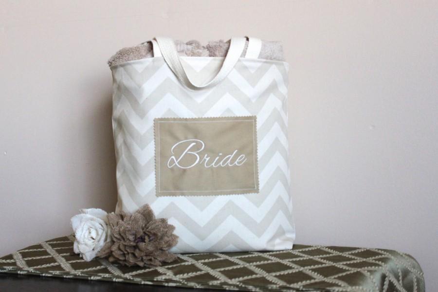 Свадьба - Chevron Tote in Khaki/Tan Cloth Canvas - Bride, Personalized, Mrs., Bridal Shower, Wedding, Purse, Beach, Gift-Favor-Goodie Bag