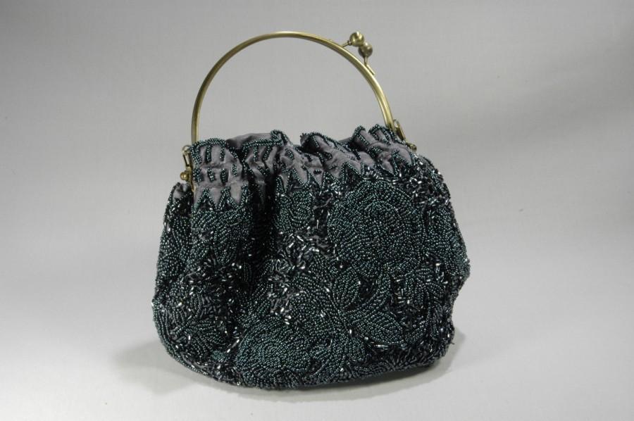 Mariage - Pewter Gray Silk Beaded Handbag Large Bugle Beaded Evening Handbag