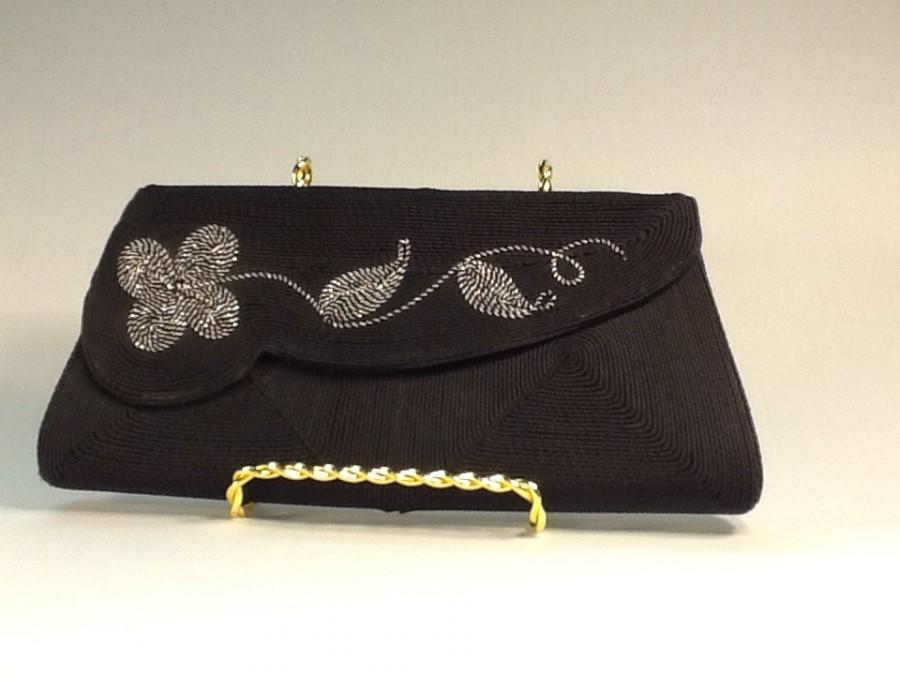 Hochzeit - Corde Creation Black and Silver Clutch Evening Bag Black Cord With Silver Embroidered Flower Leaves Corde Creation Evening Bag