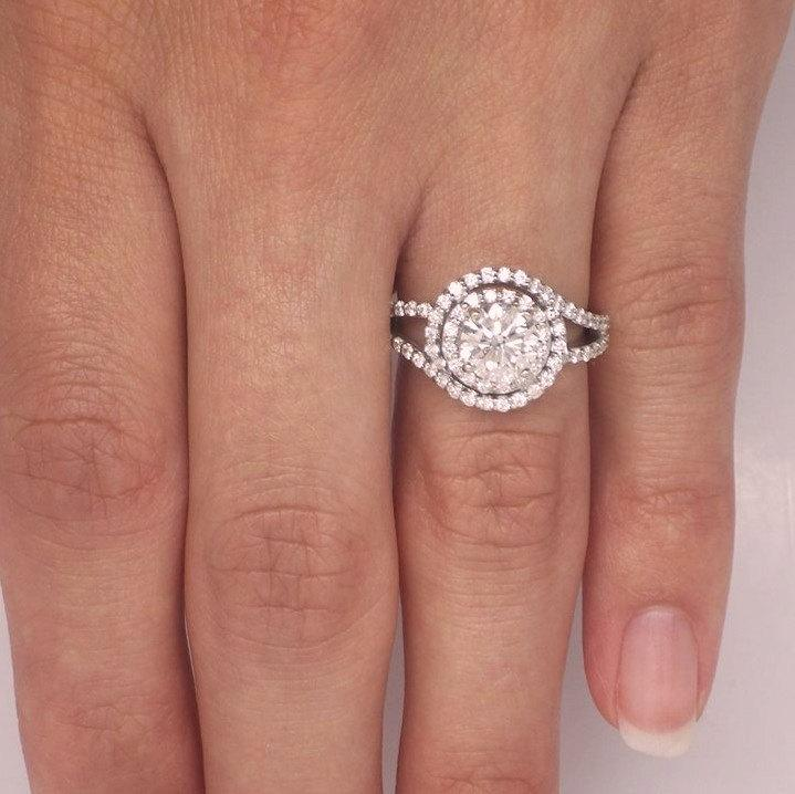 Mariage - 164 ct. Round Diamond Double Halo Ring Solid 14k White Gold  ***SEE VIDEO***