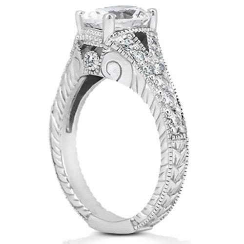 Mariage - 3/4ct  7x5mm Oval Forever Brilliant Moissanite Diamond Vintage Engagement Ring ENR7894