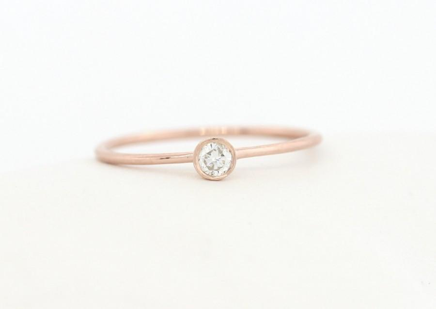 Mariage - Round Brillaint Cut Diamond Engagement Ring, Rose Gold Thin Dainty Bezel Set Engagement Ring, Rose Gold Diamond Engagement Ring, Gold Ring