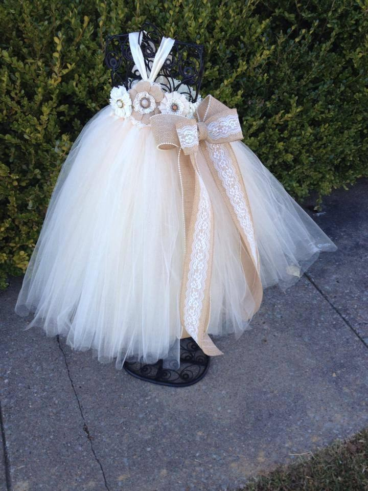 Mariage - Country Couture Flower Girl Tutu Dress/ Shabby Chic Wedding/ Rustic Wedding/ Country Wedding