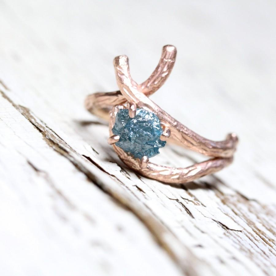 Rough Blue Diamond Branch Engagement Ring Rose Gold 14k Pink Teal Rustic  Elegant Tree Twig Single Or Wedding Set  Cerulean Bark