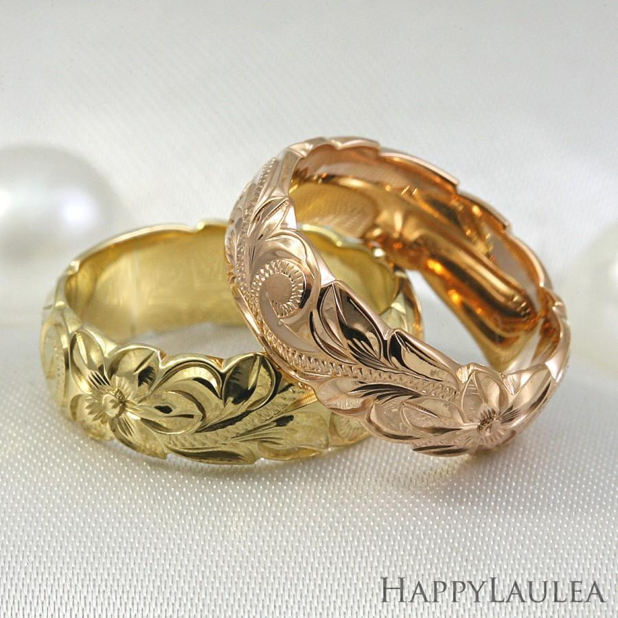 14K Hawaiian Jewelry Gold Ring Hand Engraved Heritage Floral Design