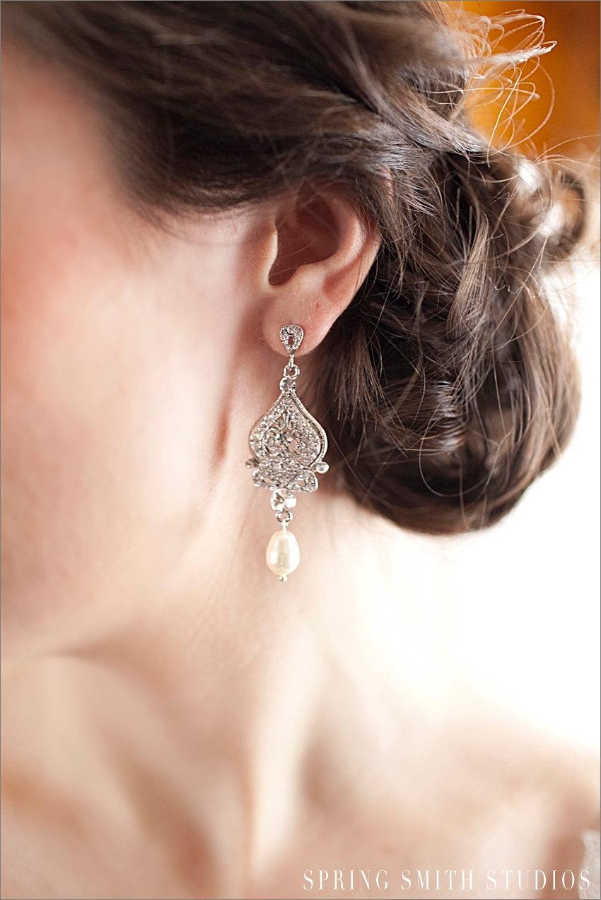 زفاف - Crystal Bridal Earrings, Chandelier Bridal Jewelry, Rhinestone, Bridesmaids, Alexandra Chandelier Earrings