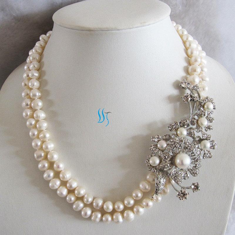 زفاف - Pearl Necklace, Statement Necklace, Wedding Necklace - 19-20 inches 2 Row 8-9mm White Pearl Statement Necklace M2 - Free shipping