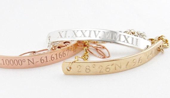 زفاف - Personalized Gold LATITUDE & LONGITUDE Bracelet, Gold Custom Coordinate Bracelet, Personalized GPS Bracelet, Gold Bar Bracelet, Wedding gift