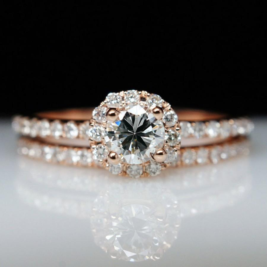 SALE Petite 72ctw 14k Rose Gold Diamond Solitaire Engagement Ring & We