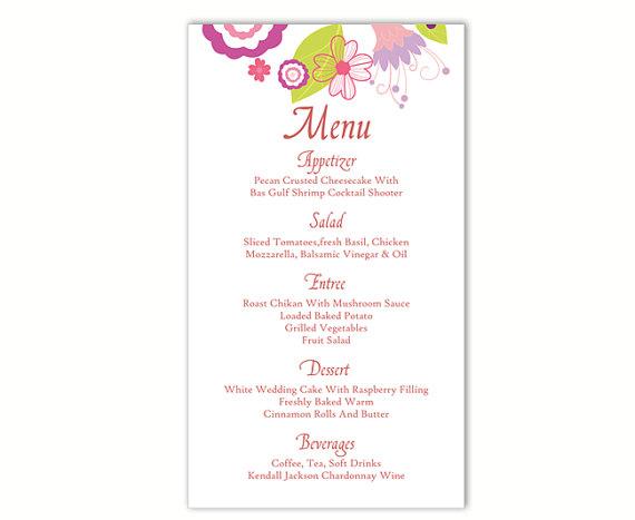 Wedding menu template diy menu card template editable text for Editable menu template