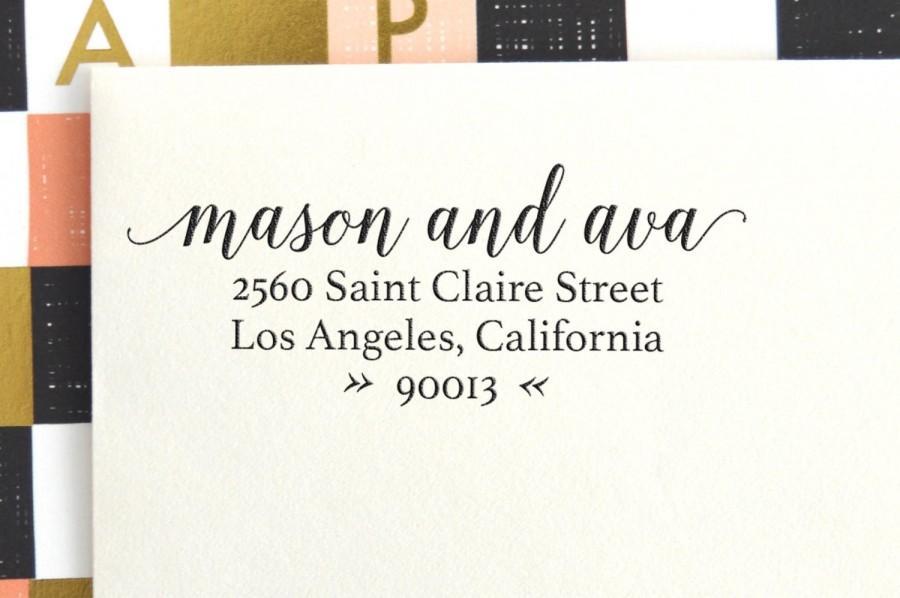 Boda - Calligraphy Return Address Stamp - Self Inking - Wedding Stamp - Housewarming Gift - No. 3