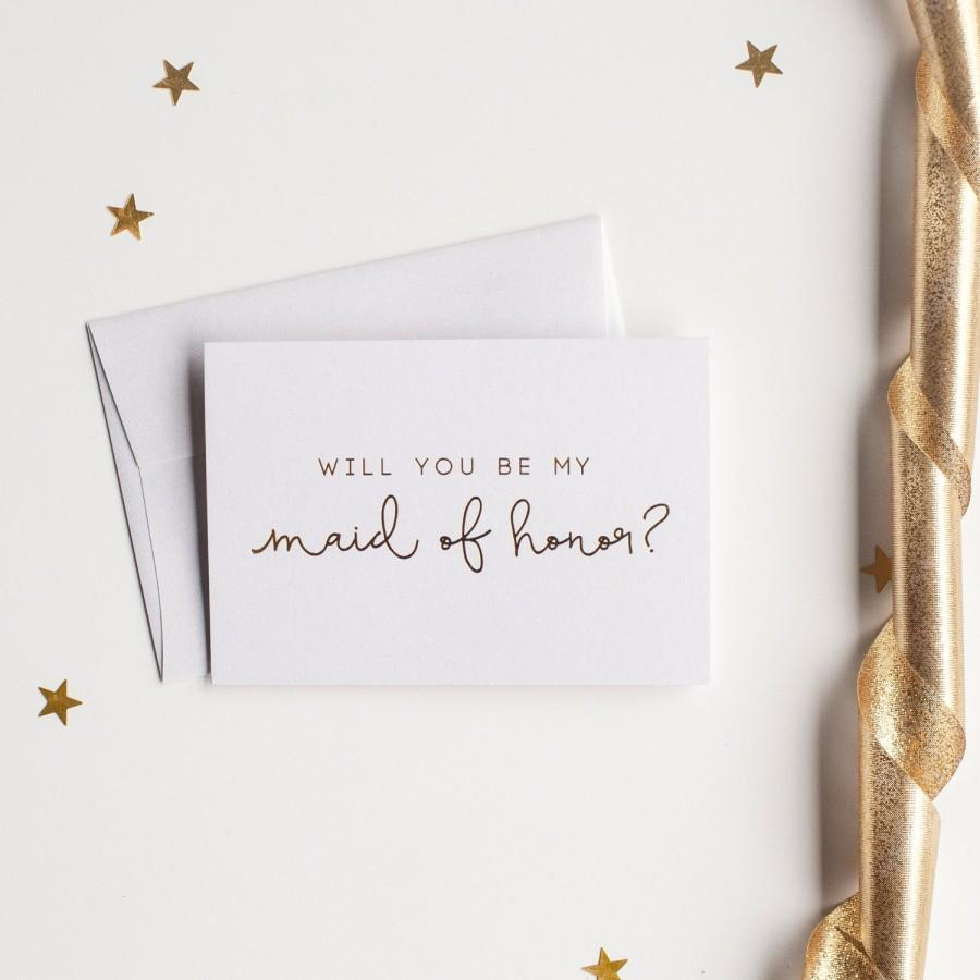 Gold Foil Will You Be My Maid Of Honor Card - Bridal Party Card ...