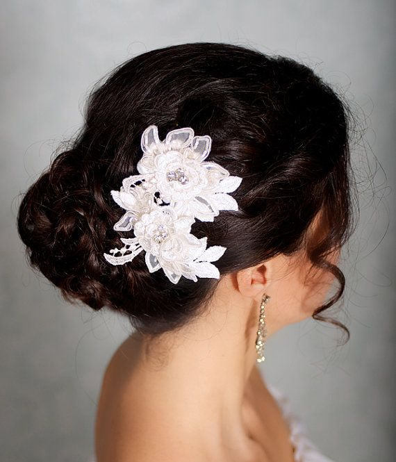 Wedding - Ivory Hair Flowers, Lace Headpiece, Bridal Hair Flowers, Bridal Hairpiece, Ivory Hair Clips, Wedding Hair Accessories - CARLA