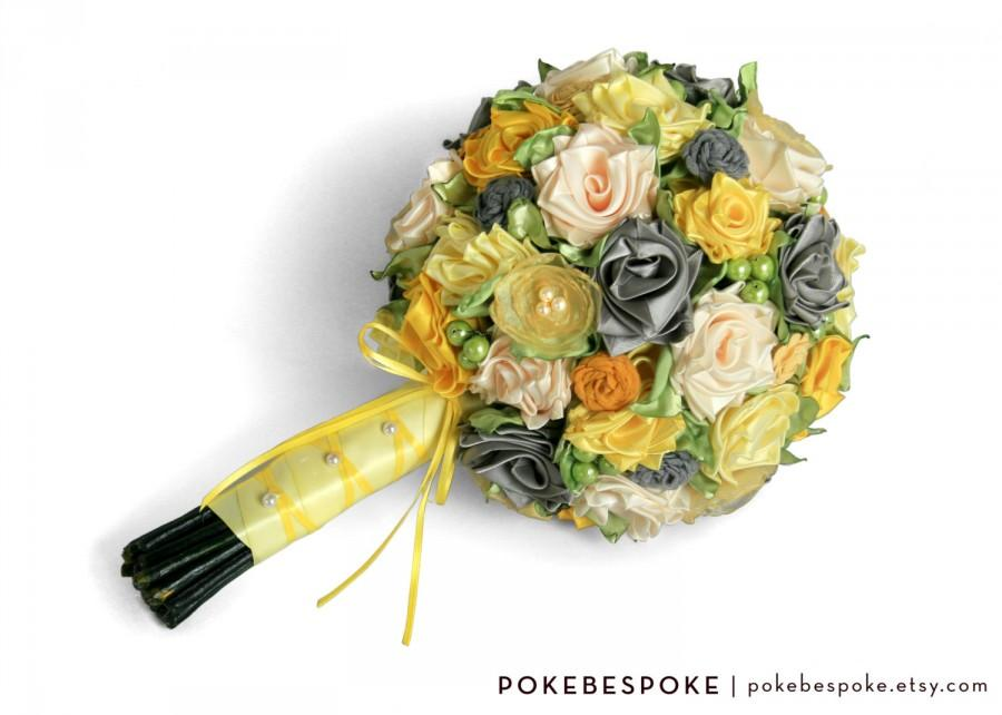 Mariage - Yellow, Gray, Silver Ribbon Rose Bridal Alternative Bouquet, Large Bride Bouquet - READY TO SHIP