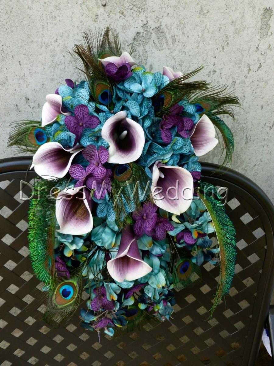 Wedding - Teal cascading bouquet with picasso calla lilies, teal, plum purple, hydrangea bouquet, teardrop bouquet