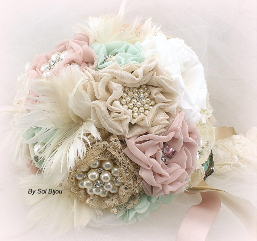 Hochzeit - Mint Brooch Bouquet, Mint Bouquet, Wedding, Bridal, Locket, Ivory, Champagne, Blush, Pink, Feathers, Lace, Pearls, Vintage Wedding
