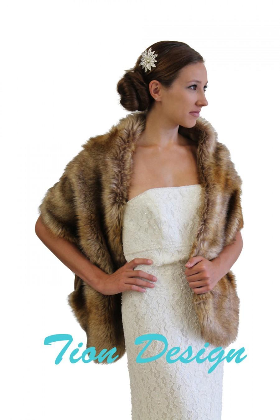 Bridal Fur Stole Vintage Brown Faux Fur Stole Fox Fur Shrug Bridal
