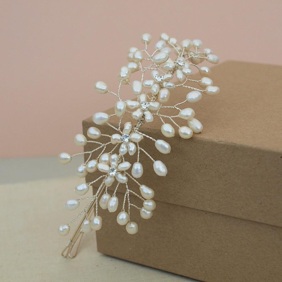 Wedding - Babies Breath Side Tiara, Floral Headpiece Ivory Pearl Bridal Headdress