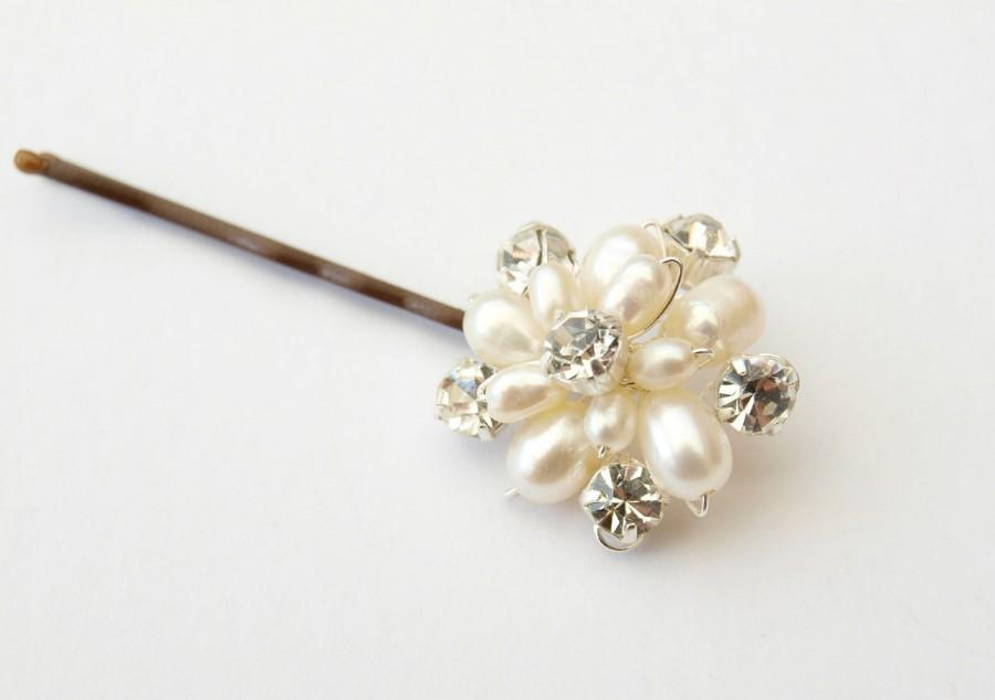 Hochzeit - Flora Pearl Floral Wedding Hair Pin with Ivory or White Freshwater Real Pearls Hair Accessories Bridal Bridesmaid Maid of Honor Headdress