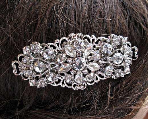 Mariage - Wedding Barrette, Crystal Bridal Clip, Vintage style, Rhinestone Hair comb, Wedding headpiece, wedding hair comb, crystal hairpiece