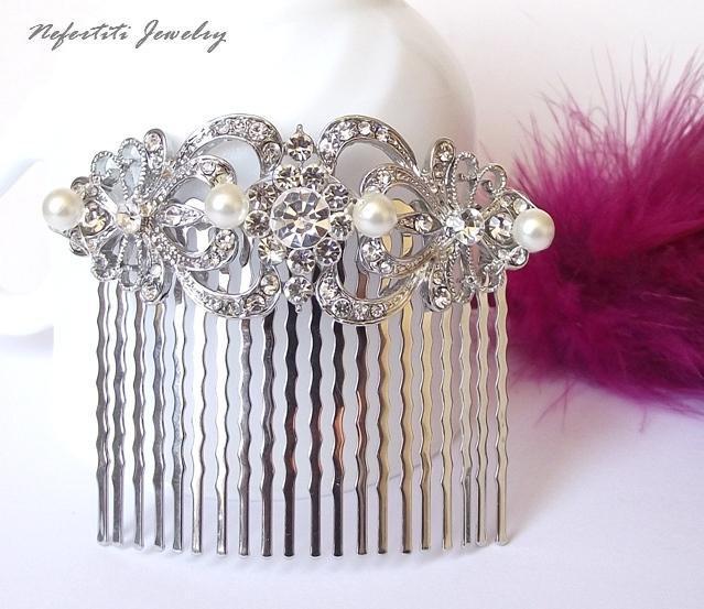 Mariage - crystal pearl bridal hair comb, wedding hair comb, pearl hair combs, rhinestone hair comb, crystal bridal hair piece, vintage style comb