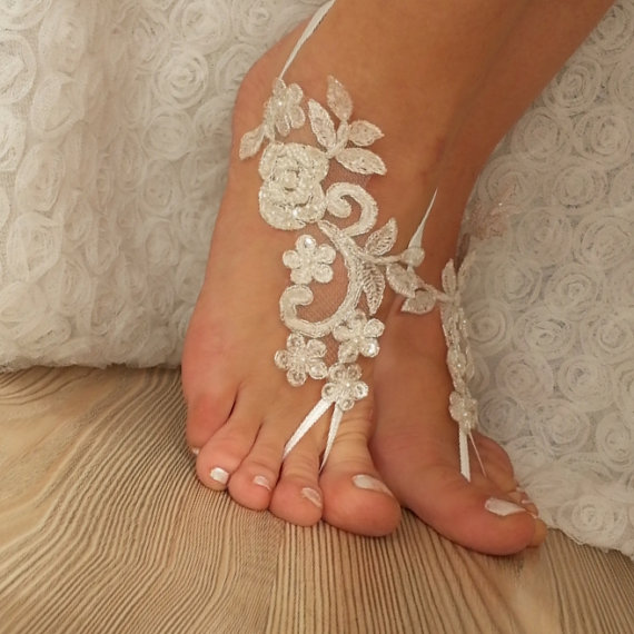 Hochzeit - ivory Barefoot silver frame , french lace sandals, wedding anklet, Beach wedding barefoot sandals, embroidered sandals.