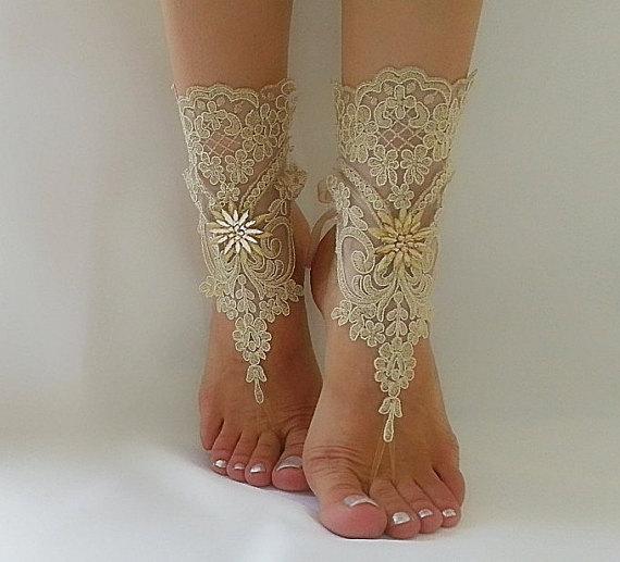زفاف - Free Ship --- bridal anklet, gold embrodeired, Beach wedding barefoot sandals, bangle, wedding anklet, anklet, bridal, wedding