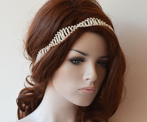 Wedding - Pearl Wedding headband, Wedding hair Accessory, Pearl Bridal Headband, Bridal Hair Accessories, Headband Mariage