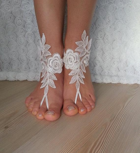 Свадьба - bridal anklet, ivory Beach wedding barefoot sandals, bangle, wedding anklet, free ship, anklet, bridal, wedding