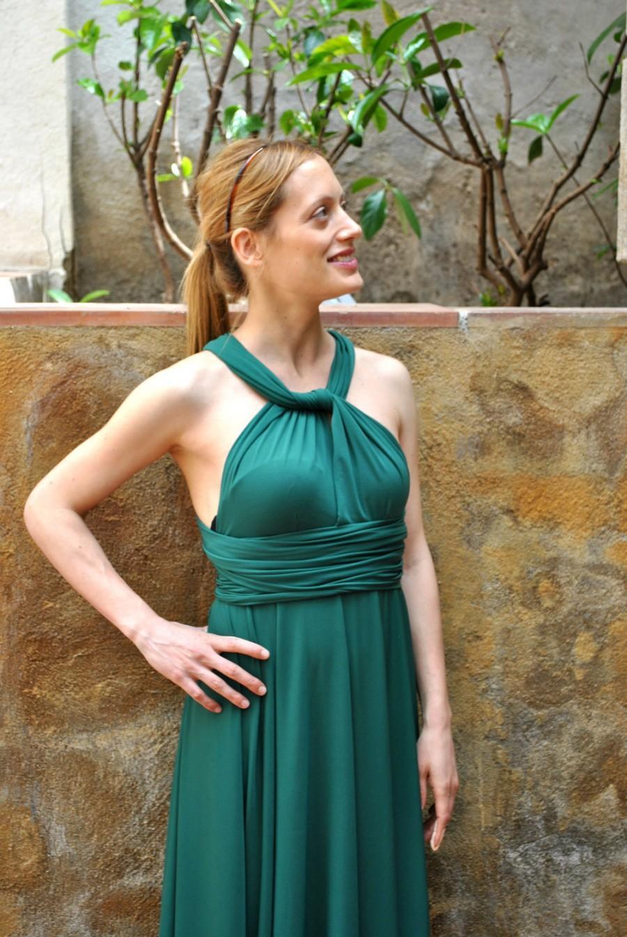 Mariage - Infinity Emerald Green dress / Infinity dress Convertible Versatile Satin Gown / Infinity ready to ship dress